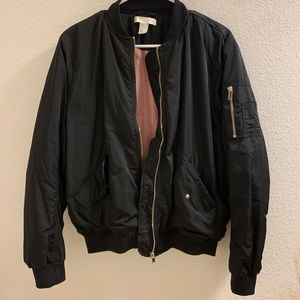 Black bomber jacket w/ gold zippers / size US 8